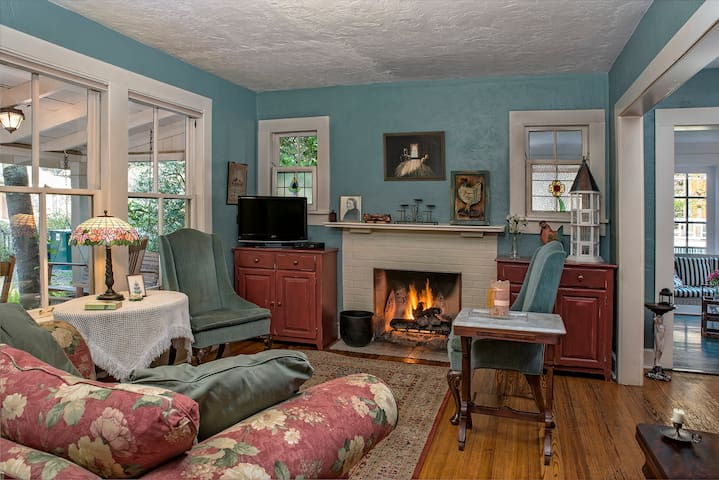 Miss Huey's Cottage is a stand alone home that's over 100 years old. It offers a full kitchen; there are two bedrooms as well as a sleeper sofa in the living room. Enjoy the quaint and relaxed cottage that will instantly make you feel at home.