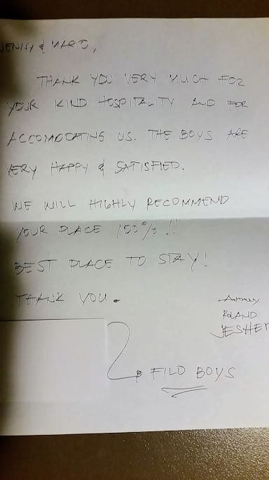 Great thank you note from The Boys.