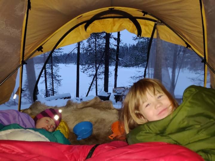 Northern light camp, Aurora borealis,arctic circle