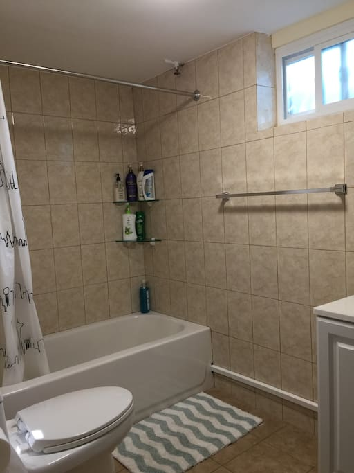 Going down a few steps to the private full bathroom for guests. Shower cream, shampoo, conditioner,  towels, hair dryer are prepared.