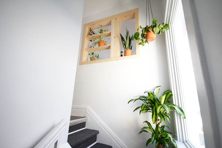 Stairs to private second floor flat