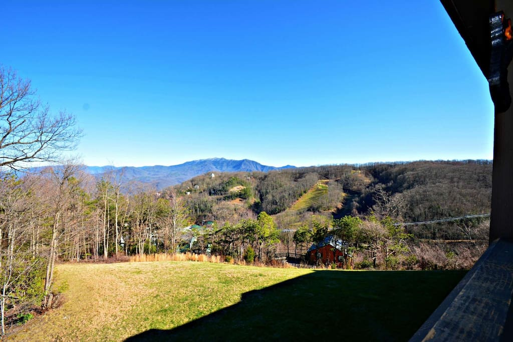 The Cozy Balcony offers Incredible Views, you can even see Ober Gatlinburg Ski Resort in the distance.
