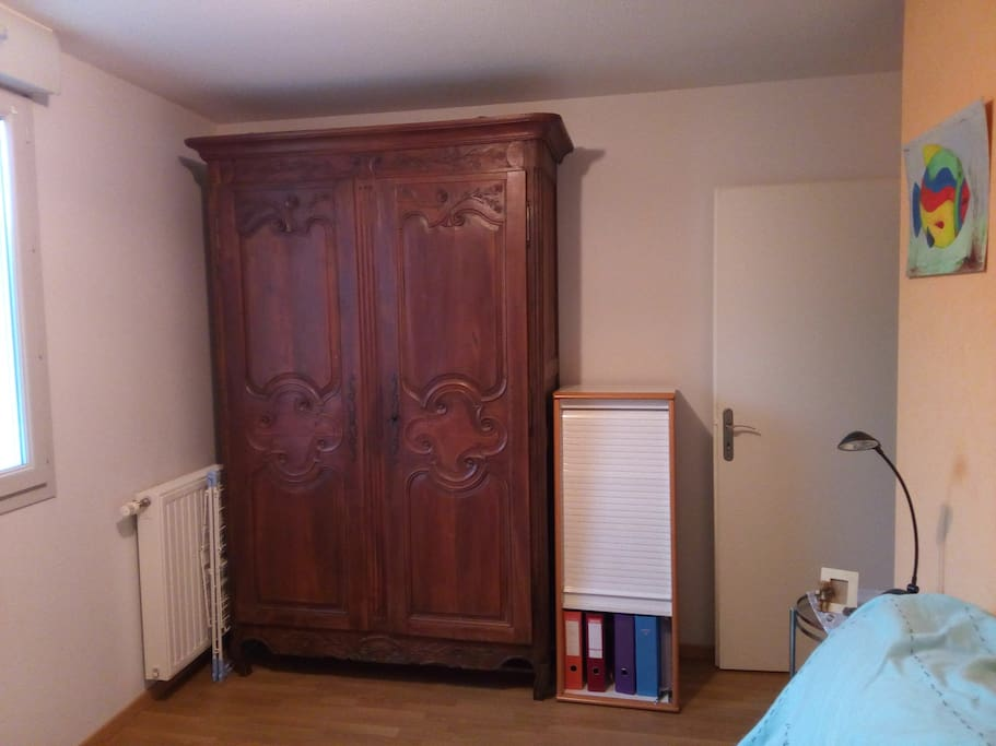 There is one big cupboard to put all your luggage.
