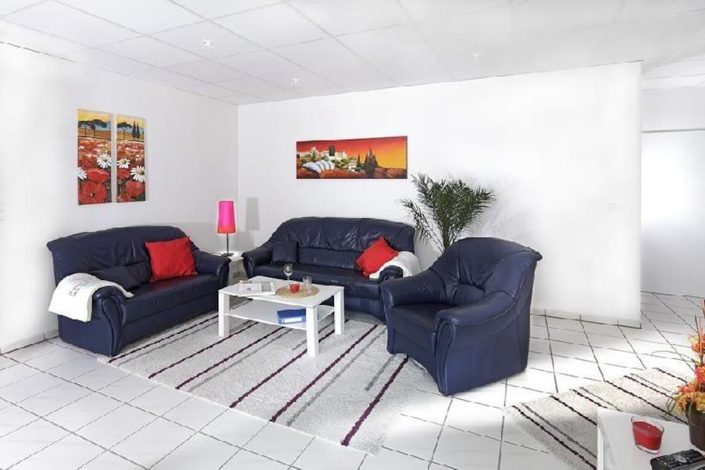 Wohnen, gefliester Boden, Teppiche, Leder Sitzgarnitur