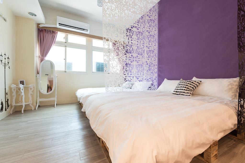 房源1 2張-雙人標準5✖️7尺床墊➕使用乾淨保潔墊➕高級獨立筒床墊➕純棉質床被單➕羽絨枕被➕遮光防瞞窗簾