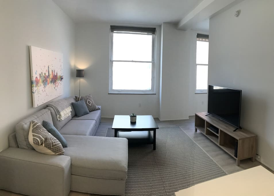 Sectional couch and 55in LG TV with 175+ channels
