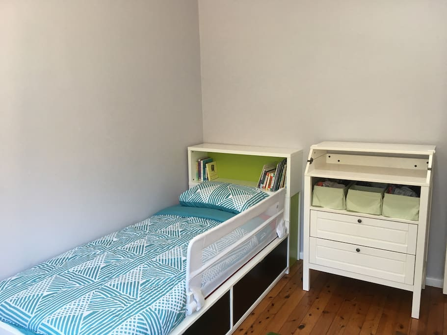 Bedroom 2, a single bed. The white dresser folds out into a change table if need be.