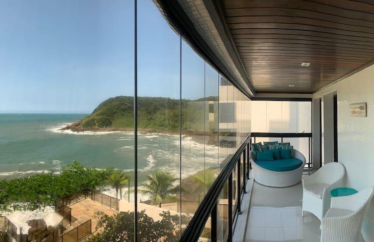 Apartamento vista panorâmica, frente total mar