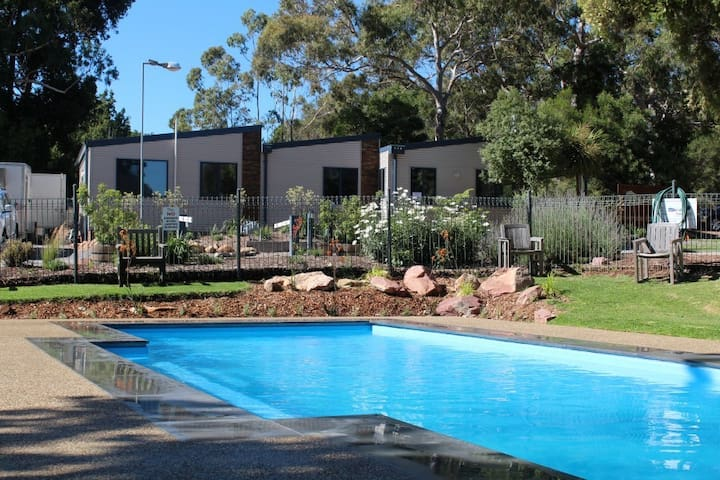 Our wood fire outdoor heated pool
