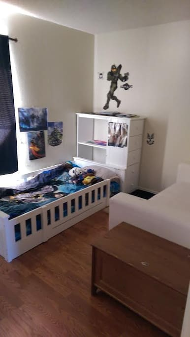 Kids Bedroom Twin Mattress, Open Dresser, Couch