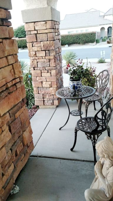 This is front entrance patio set is a great place to enjoy your morning coffee or sunset.
