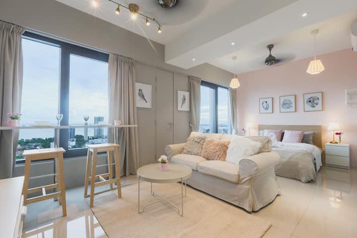 Pinkie Seaview Studio Suite*Georgetown|乔治市少女粉色系海景房