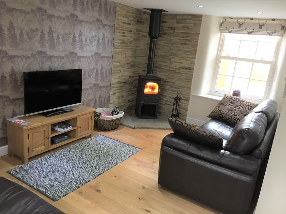 Cosy lounge area with log burner