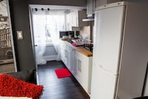 This efficient galley kitchen meets any needs you have while visiting Toronto.