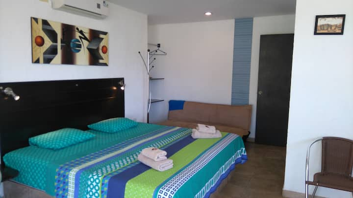 Apto estudio vista al mar, ideal pareja y familia!