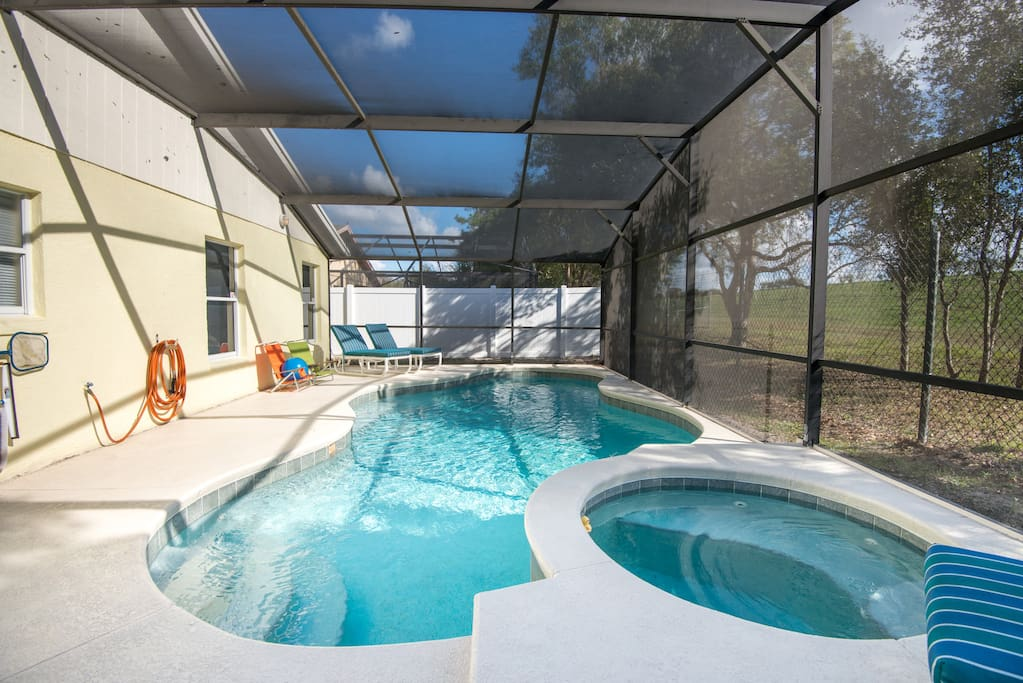 Luxuriate in the pool and spa