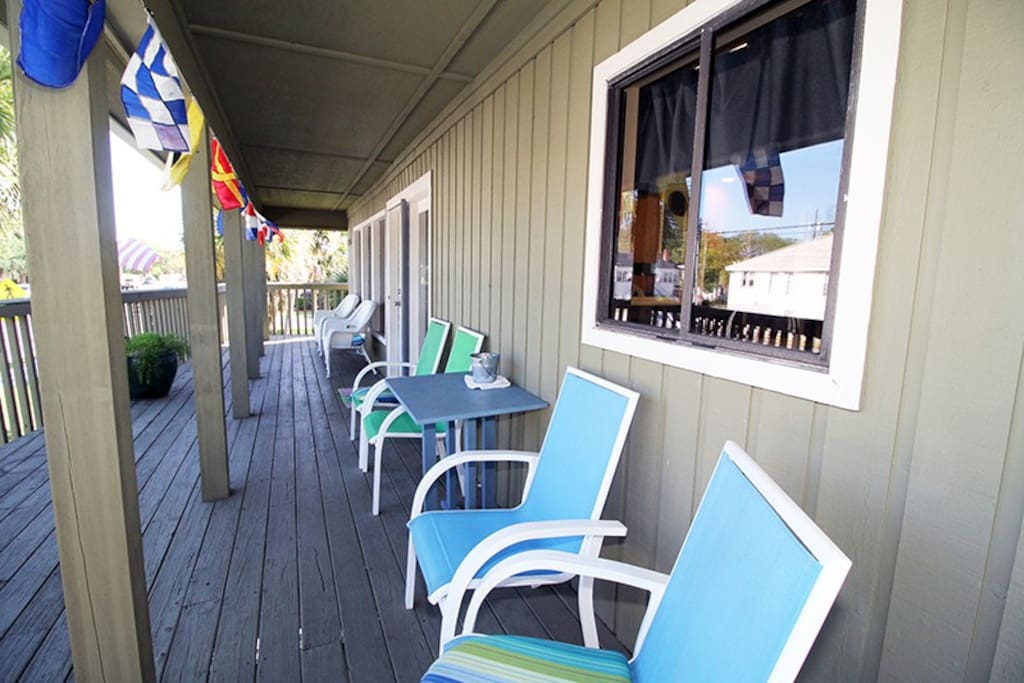 Enjoy Coffee, Cocktail and Tybee Brerezes on the Large Balcony