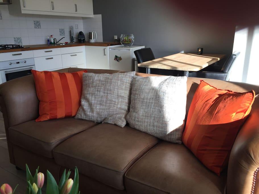Couch & kitchen