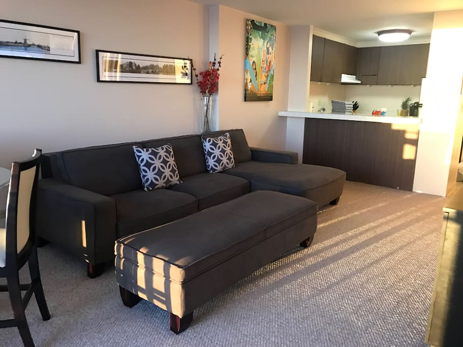 Large couch with ottoman.