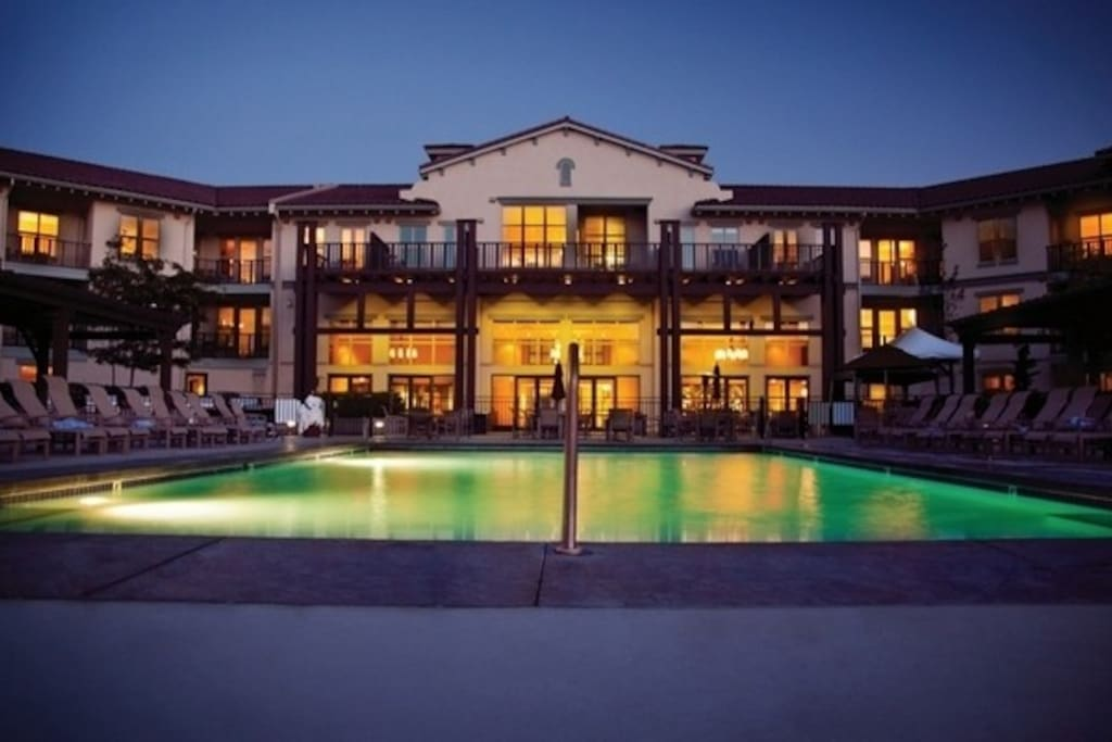 Take a dip in the outdoor pool, overlooking the lake.