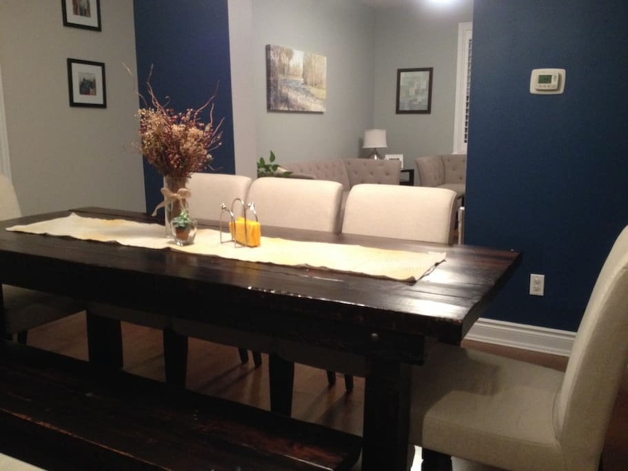 Dining Room harvest table comfortably seats 8