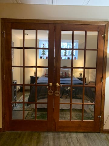 French Doors to the bedroom.