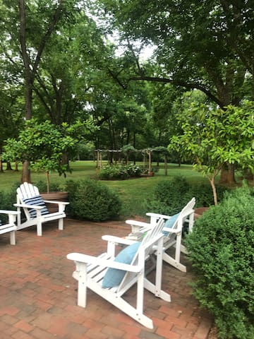 Patio with Adirondack chairs, soak in the countryside while reading or daydreaming