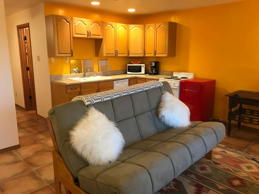 Living and dining area with full kitchen