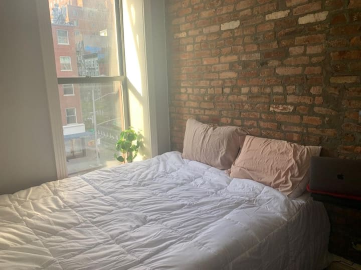 Sunny & Bright Cute Brick East Village Room