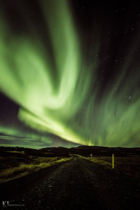 The Northern Lights, also known as the Aurora Borealis, can be experienced in Hálsaskógur during the winter time.