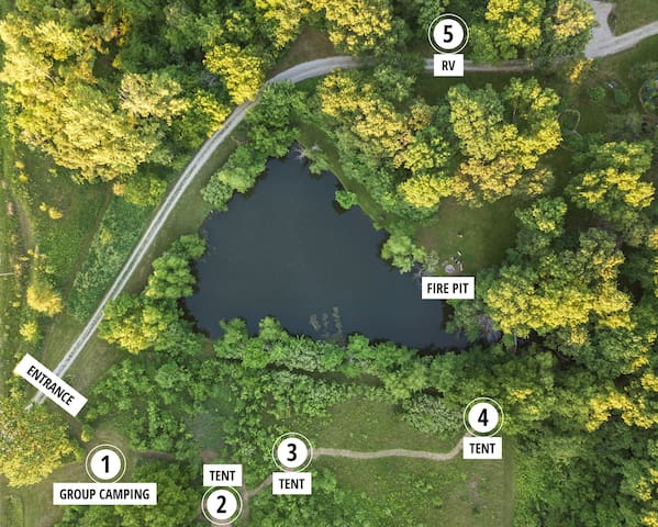 Arial view of campsites and property.