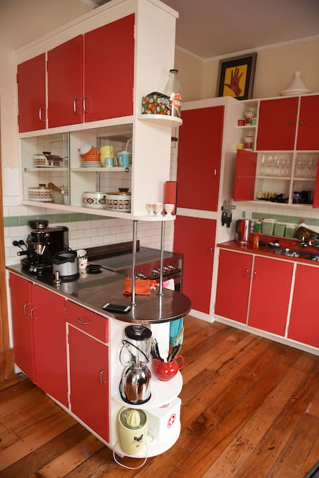 Recently renovated retro-style kitchen.