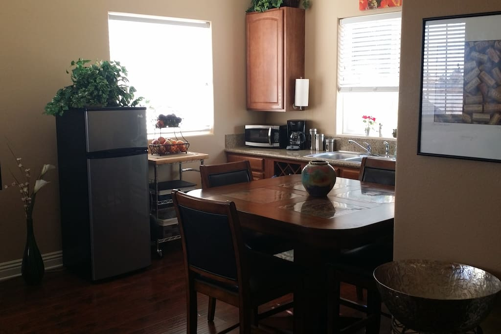 Fully stocked kitchen with coffee maker, microwave and stove. Dishes and pots/pans included.