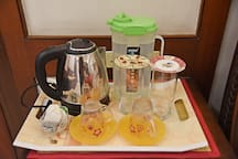 Hot water Kettle, tea sachets, Water Jar