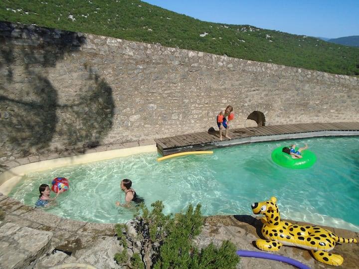 Piscine, Maison Medieval proche a nature a Brissac