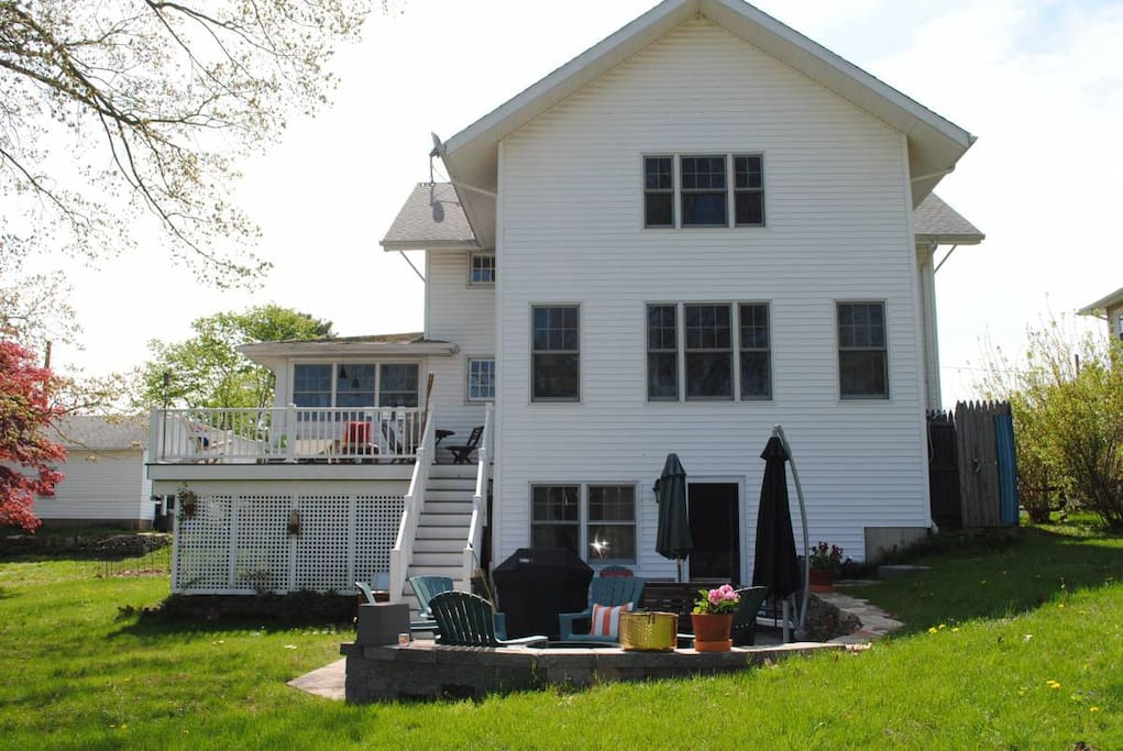 rear of house - over an acre of land, fire pit, patio, deck