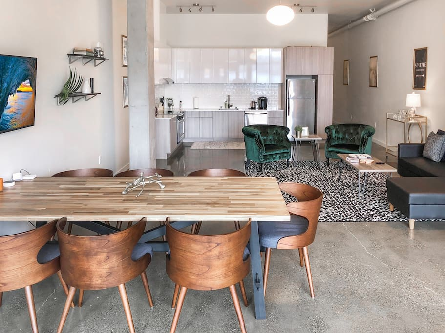 This set up makes the space great for team meetings and hosting a dinner party while you stay at the unit! The table sits 8.