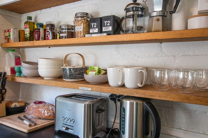Everything you need in kitchen.  Breakfast goods are provided and include cereals, muesli, coffee, teas, milk, eggs, bacon, bread and yoghurt.