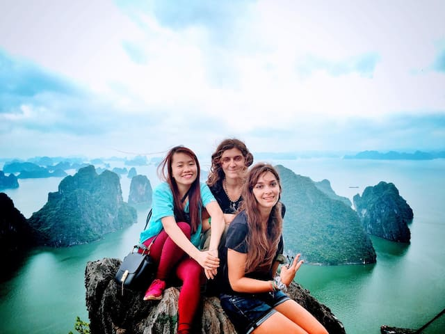 Me and our guests on the top of Bai Tho mountain (Poem mountain). From here you have the best view of the dynamic city and the beautiful Halong Bay.
