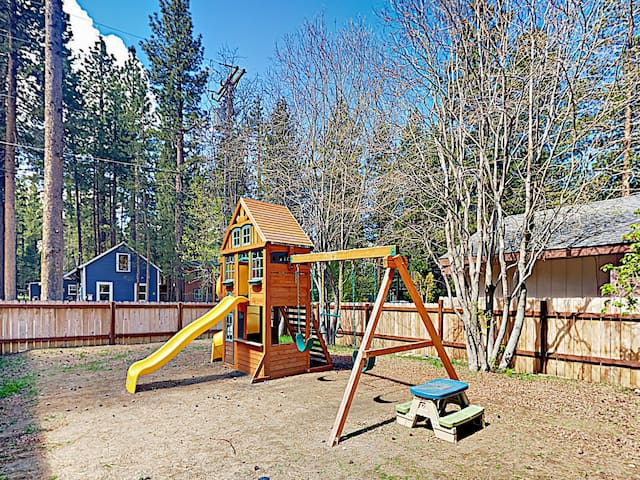 Kids will love the playground in the front yard.