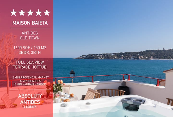 New-Luxury old Antibes with sea View Terrace 3BDR