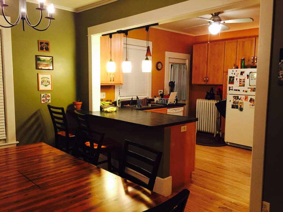 While renting out the whole home, you'll have free range in the common spaces like our open kitchen and dining room.