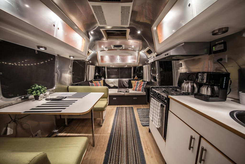 great interior lighting, WIFI repeater located inside Airstream