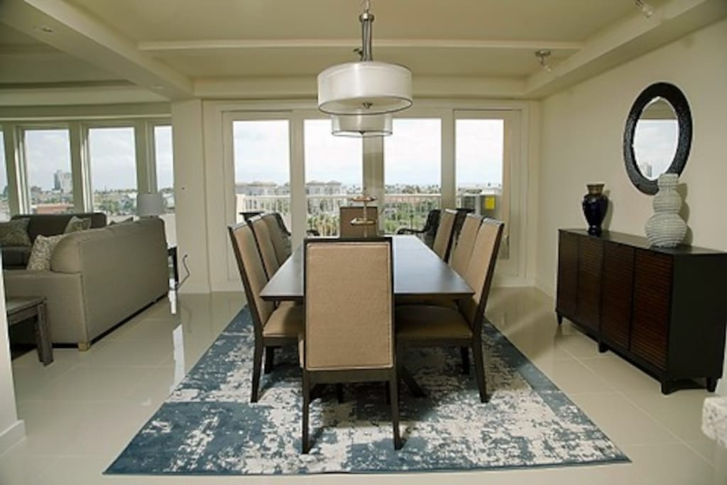 The dinning area accommodates eight with a great view of the bay area.