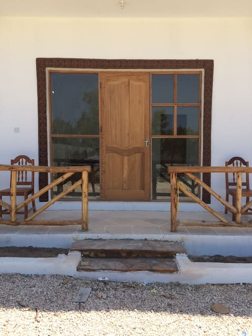 Private entrance to the rooms with terrace