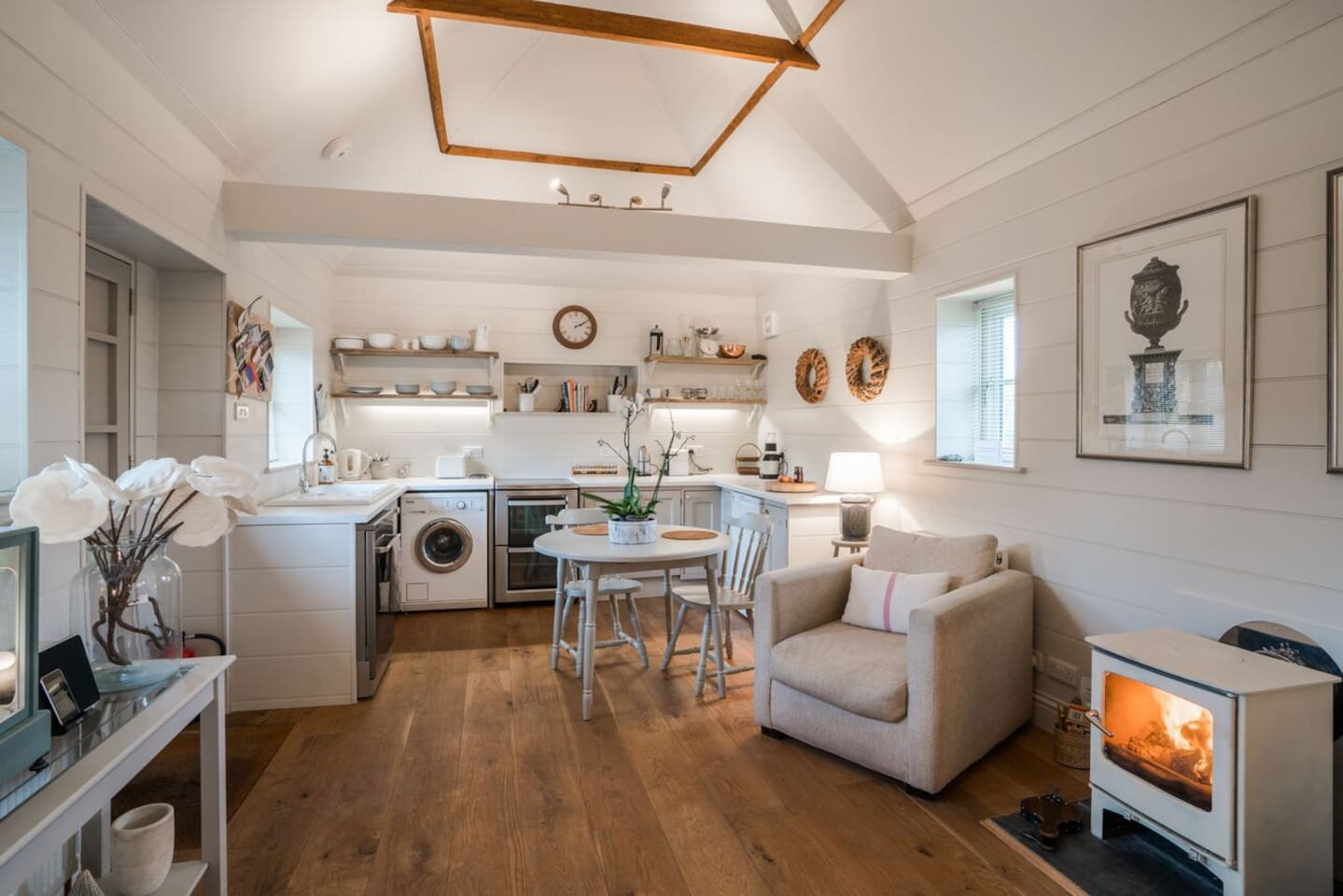 Fully equipped kitchen and cosy woodburner