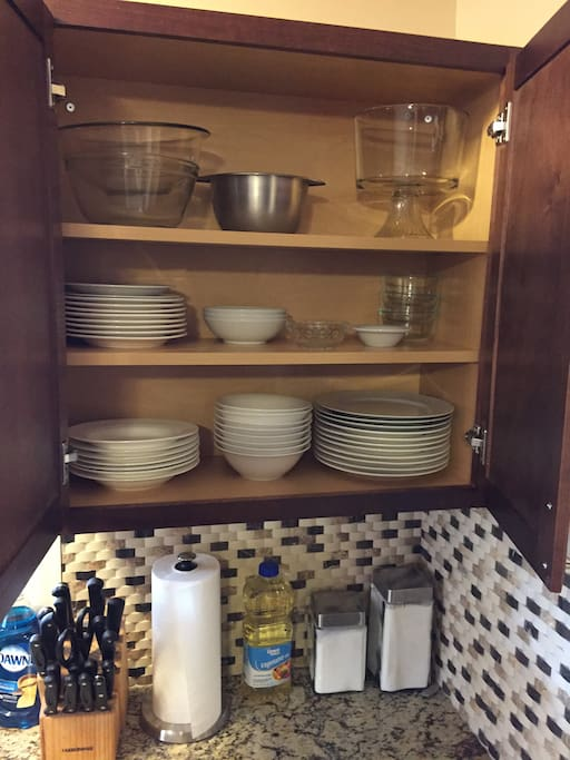 Cabinets stocked with everything you need to cook