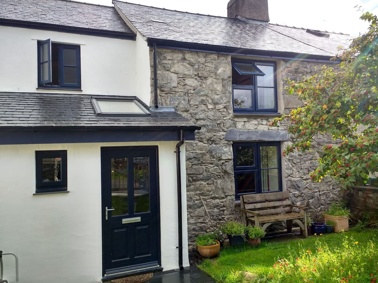 The house is a traditional stone cottage which has been extended