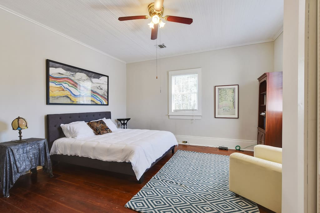 Master bedroom is completely private and very spacious with a king sized bed.