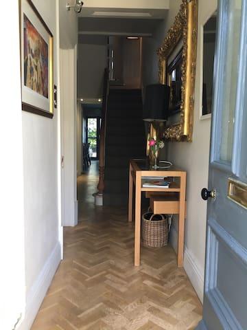 Entrance, hallway with solid oak parquet flooring